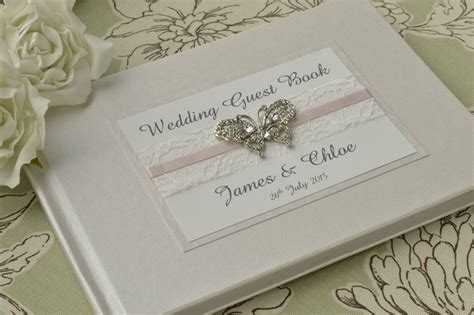 Wedding Guest Book by Diamante Butterfly Wedding Guest Book Luxury Pearlescent