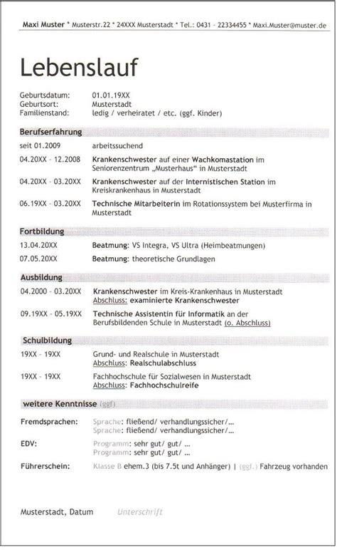 Lebenslauf Fur Beruf 6 lebenslauf balken krankenschwester trebuchet id 447