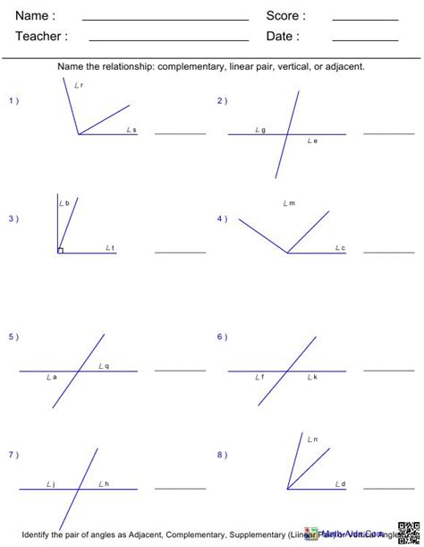 Line And Angle Relationships Worksheet Answers by Geometry Spencer County Middle 7th Grade Math
