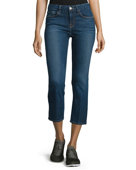 boot cut cropped frame le cropped mini boot cut in blue lyst