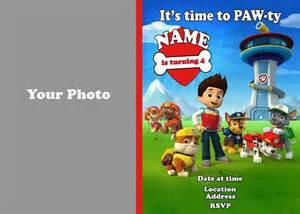 Paw patrol birthday photo party invitation diy printable