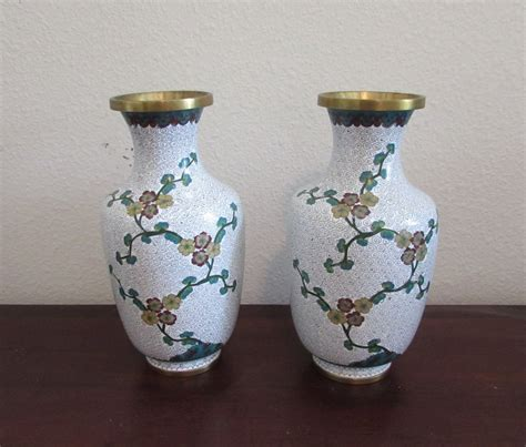 Vase Ebay by Antique Pair White Cloisonne Floral Vases Ebay