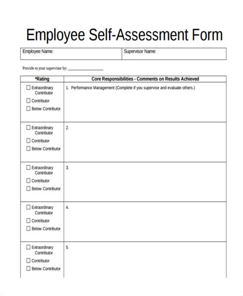 employee self evaluation form template 47 assessment form exles free premium templates