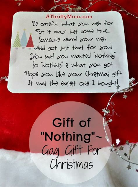 gift of quot nothing quot christmas gag gift a thrifty mom