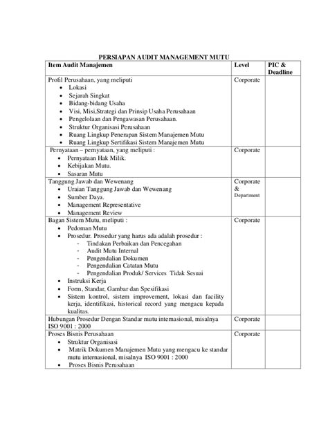 check list persiapan audit manajemen mutu by daniel doni sundjojo
