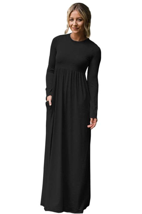 Gamis Jersey Maxi Dress us 11 27 black sleeve high waist maxi jersey dress
