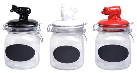 Farmhouse Kitchen Canister Sets And Snap Glass Canister With Animal Ceramic Tops Set