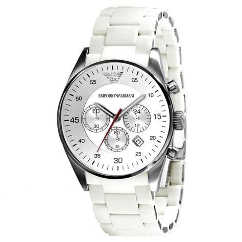 emporio armani mens white chronograph ar5859