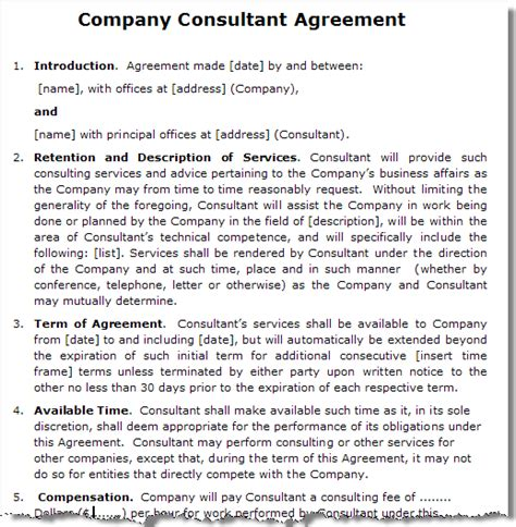 consultancy contract template consultancy services agreement sle