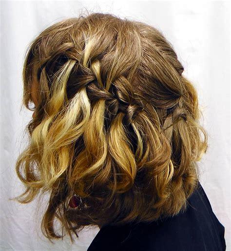 short waterfall braid hairstyles  wavy hair women