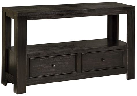 Black Sofa Table With Drawers by Signature Design Gavelston Rustic Distressed Black