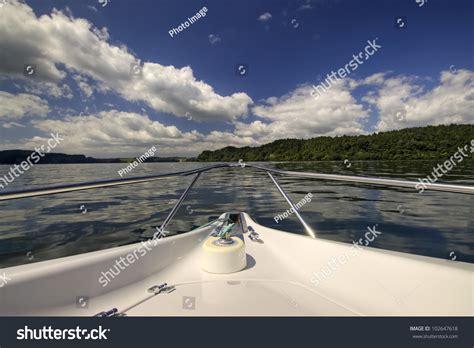 speed boat nz front speed boat on lake rotorua stock photo 102647618