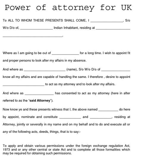 Uk Power Of Attorney Template power of attorney form for uk excel templates