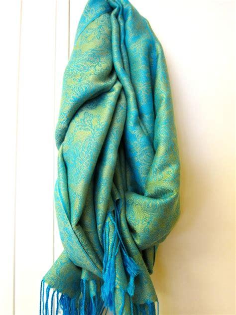 Pashmina Flower Linen lime green turquoise blue himalayan pashmina by