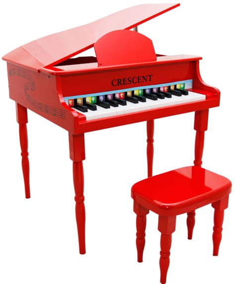 toddler piano with bench new crescent 30 keys red baby toy grand piano with bench