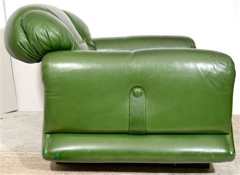 Overstuffed Lounge Chair Mod Overstuffed Green Leather Lounge Chair At 1stdibs