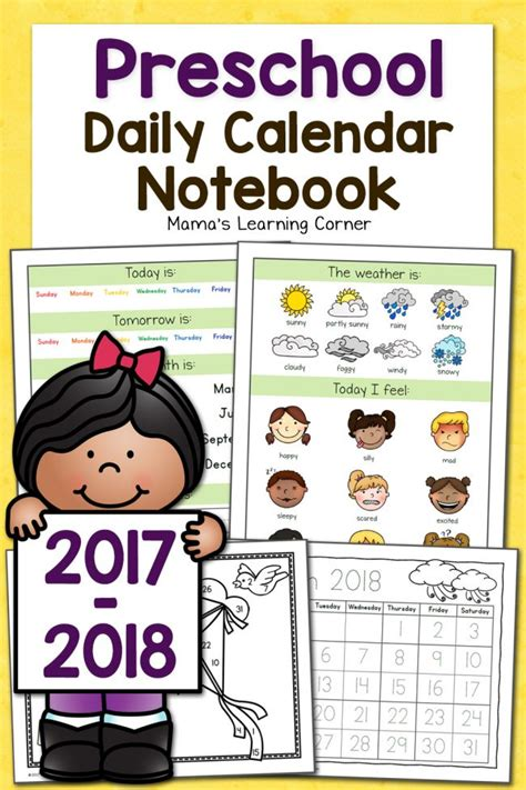 Preschool Calendar Notebook Mamas Learning Corner Free Preschool Calendar Templates 2018