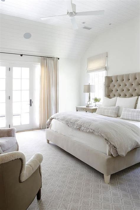white  beige bedroom  gray grasscloth wallpaper transitional bedroom