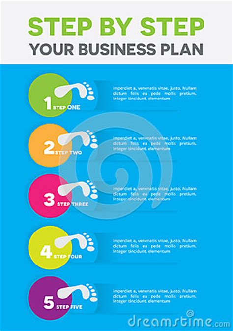 step by step business plan template buisness plan stock vector image 51106626
