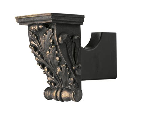 designer drapery hardware kirsch small acanthus leaf bracket for 1 3 8 inch or 2