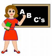 Clip Art Of A School Teacher In Red Dress And