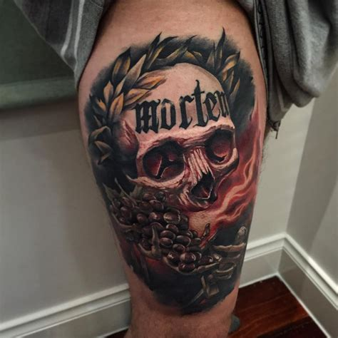 skull thigh tattoo benjamin laukis tattoos askideas