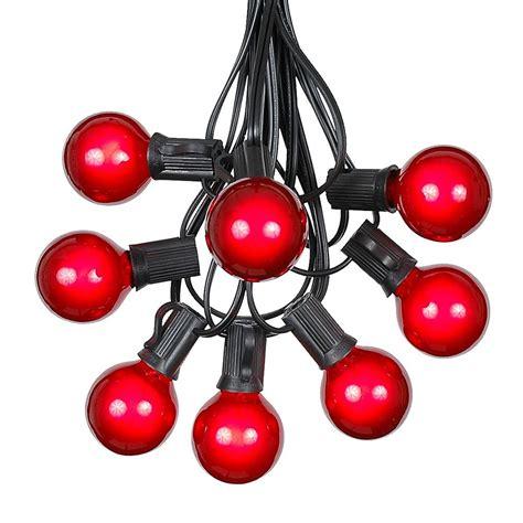 100 Red G40 Globe Round Outdoor String Light Set On Black Novelty Lights