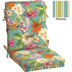 Homes and gardens outdoor tufted dining chair cushion bright floral