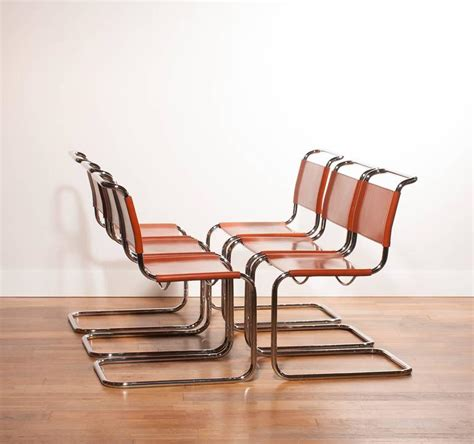 Tubular Dining Chairs 1970s Set Of Six Tubular Dining Chairs By Mart Stam For Fasem In Cognac Leather For Sale At 1stdibs