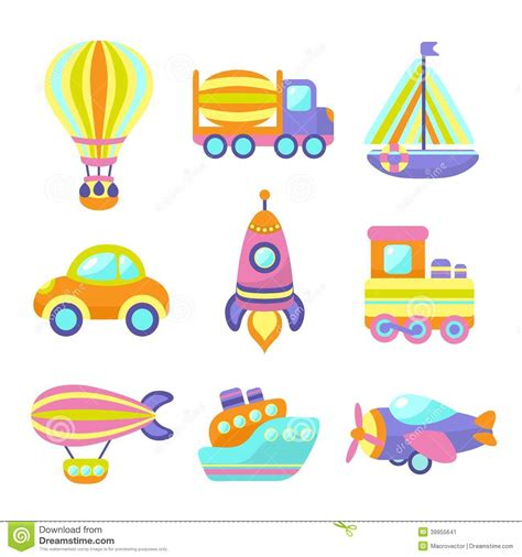 Wall Stickers For Baby Rooms transport toys icons set stock vector image 39955641