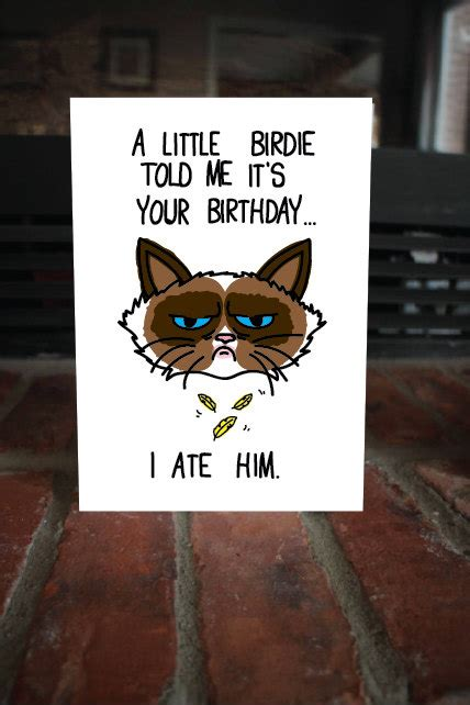 Meme Birthday Card - funny i ate him birthday card cute grumpy cat meme by majikatz