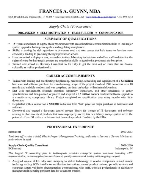 Supply Chain Consultant Sle Resume by 2013 Supply Chain Procurement Resume