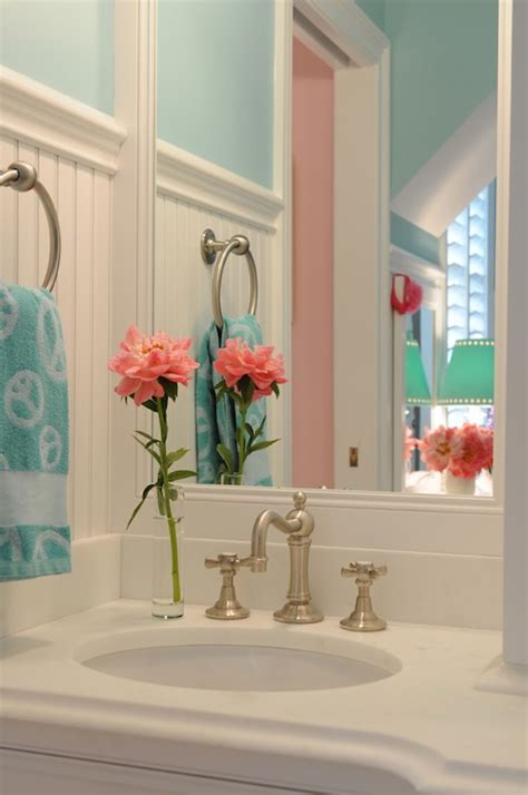 blue and coral bathroom turquoise blue bathroom contemporary bathroom tr
