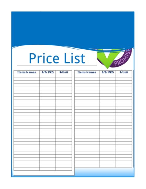 blank price list template price list template e commercewordpress