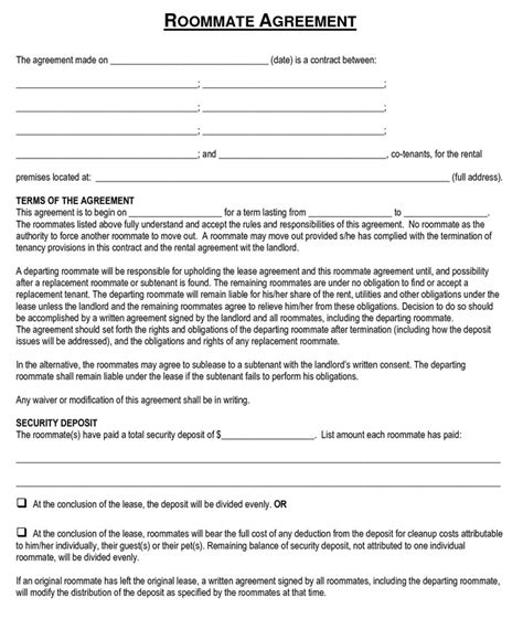 Roommate Agreement Template Cyberuse Roommate Rental Agreement Template