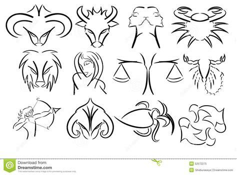 ensemble de signes artistiques de zodiaque d isolement