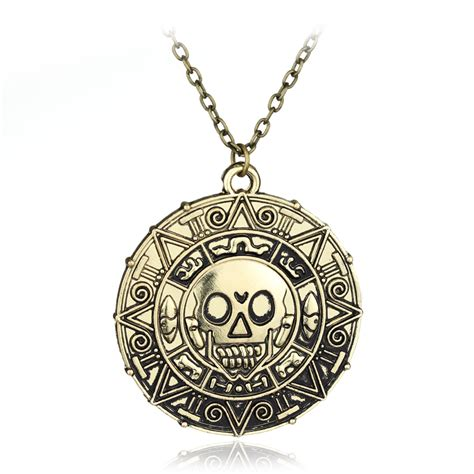 Of The Caribbean Gold Skull Coin Necklace moive of the caribbean necklace fashion