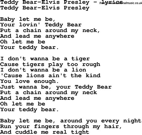 printable elvis lyrics love song lyrics for teddy bear elvis presley