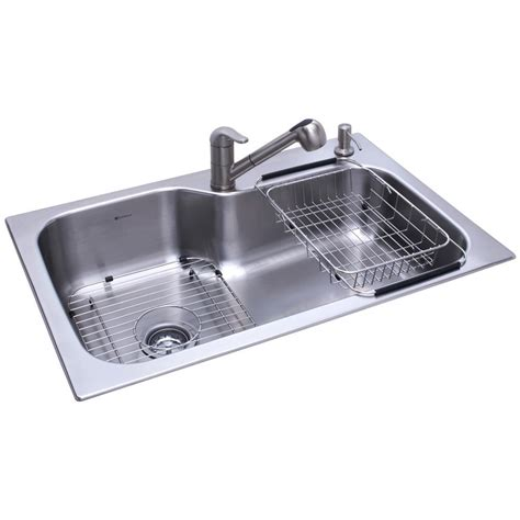Glacier Bay All in One Dual Mount Stainless Steel 33 in. 2 Hole Single Basin Kitchen Sink in