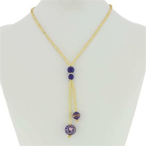 Glass Tie Necklace glassofvenice murano glass fiorato tie necklace