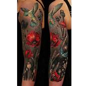 &187 Arm Tattoos Humming Bird And Red Poppy Flowers On