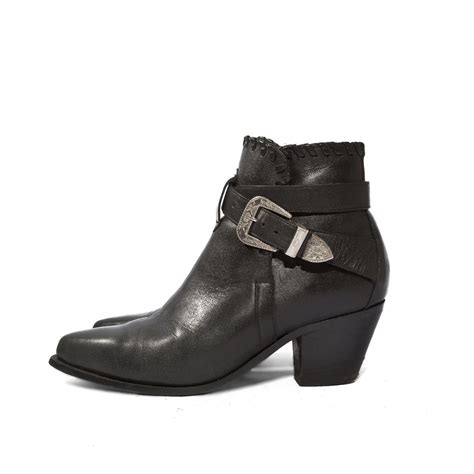 80s vintage black leather buckle ankle boots by dingo biker