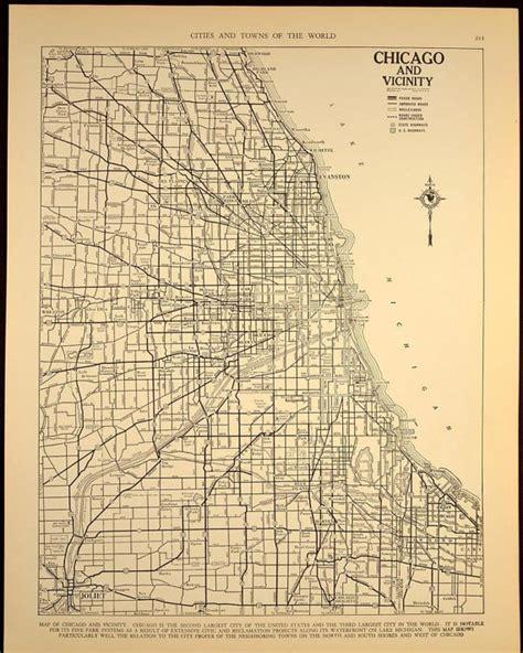 chicago map 1930 vintage map chicago illinois 1930s by vintagebookspaper