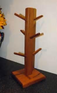 Black Glass Square Vase Vintage Wooden Mug Tree 6 Cup Holder Teak Wood Oranament