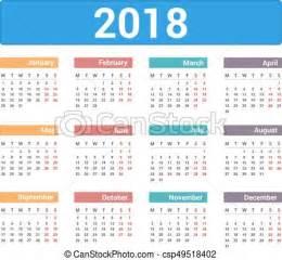 Calendario 2018 Semanas Clip Arte Vetorial De Calend 225 2018 2018 Calendar