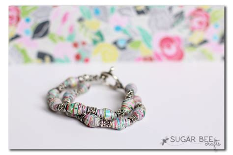 How To Make Paper Bead Bracelets - rolled paper bracelet a how to tutorial sugar