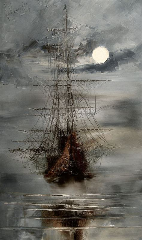 masterful textured paintings of ships at sea grey the only way and ghost ship