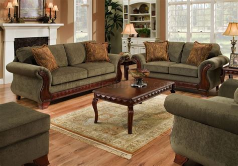 house of oak and sofas green fabric traditional sofa loveseat set w carved wood