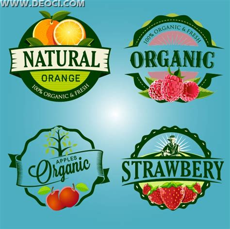 organic natural fruit label design eps vector material