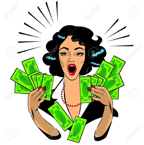 Winning With Money - woman with money clipart clipartxtras
